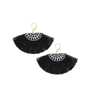 Ethnic Fan-Shaped Embroidery Tassel Earrings - Black