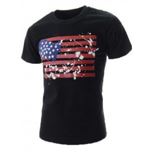Splatter Painted American Flag T-Shirt - Black - Xl