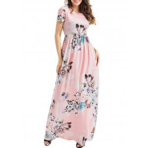 Short Sleeve Floral Maxi Dress - Light Pink - Xl