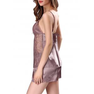 Cami Lace Panel Satin Pajamas Set -