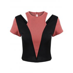 Cut Out Two Tone Cropped Tee