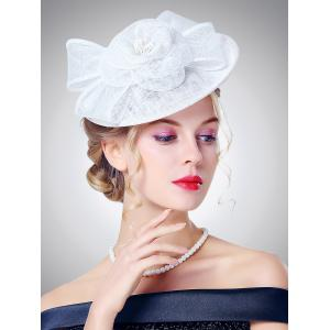 Bowknot Flower Shape Cambric Cocktail Hat - White