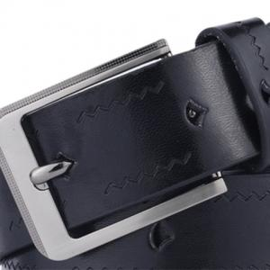 Faux Leather Pin Buckle Wavy Line Embossed Belt -