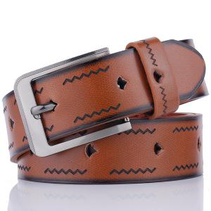Faux Leather Pin Buckle Wavy Line Embossed Belt - Coffee