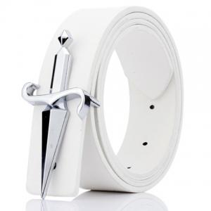 Plate Buckle Tapered Crucifixion Artificial Leather Belt - White - 130cm