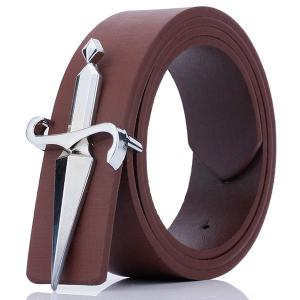 Plate Buckle Tapered Crucifixion Artificial Leather Belt - Coffee - L