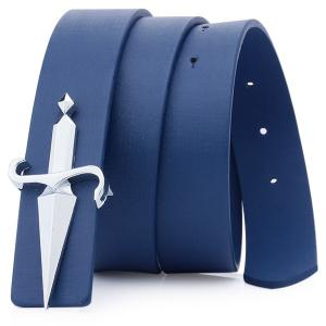 Plate Buckle Tapered Crucifixion Artificial Leather Belt - Blue