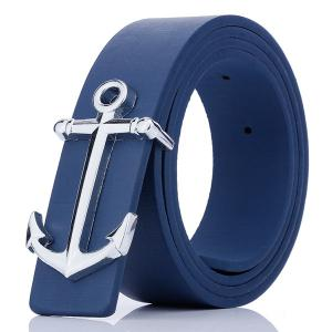Plate Buckle Anchor Shape Faux Leather Belt - Blue - W24 Inch * L71 Inch