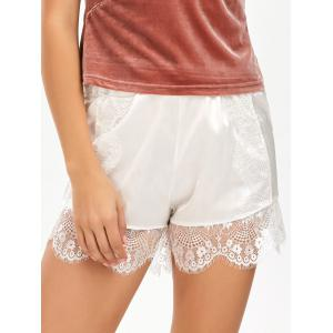 Eyelash Lace Panel Satin Shorts