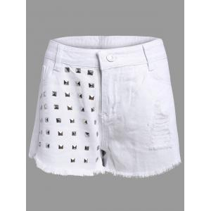 Frayed Denim Studed Shorts