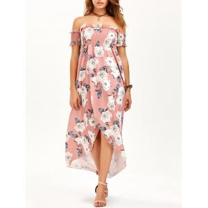 Floral High Slit Off The Shoulder Maxi Dress