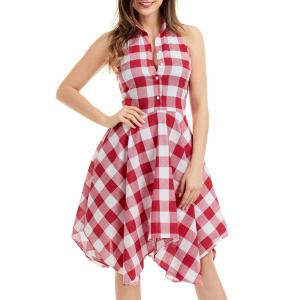 Casual Handkerchief Tartan Shirt Dress