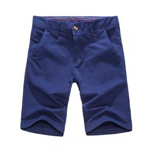 Casual Zipper Fly Pockets Shorts - Royal - 34