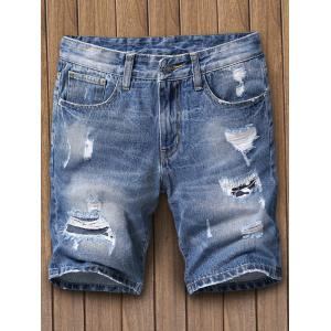 Faded Ripped Denim Shorts - Blue - 34