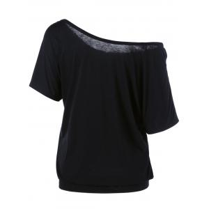 Skew Collar Butterfly and Floral T-Shirt - BLACK 2XL