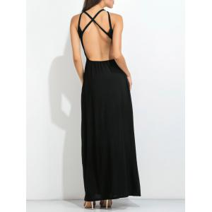 Open Back High Slit Strappy Maxi Party Dress - BLACK XL