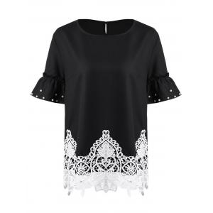 Lace Trim Beaded Flare Sleeve Plus Size Chiffon Top - Black - 5xl