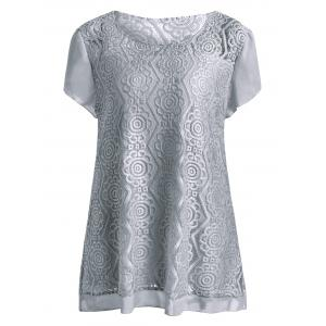 Plus Size Scoop Neck Long Lace Blouse