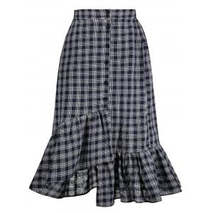 Checked High Waisted Midi Fishtail Skirt