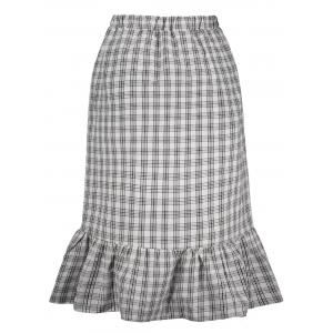 Checked High Waisted Midi Fishtail Skirt -