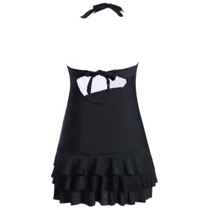 Halter Tiered Ruffles Skirted Swimsuit - BLACK M