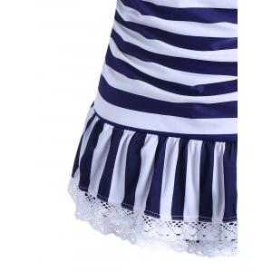 Halter Striped Skirted One Piece Swimwear -