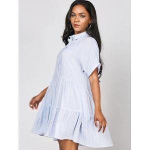 Striped Ruffles Casual Shirt Dress -