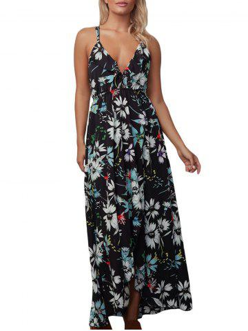 Latest Floral Backless Chiffon Maxi Slip Dress BLACK M