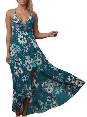 Floral Backless Chiffon Maxi Split Slip Beach Dress Vert S