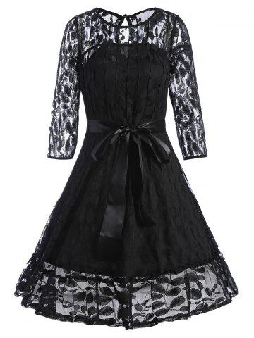 Chic Lace Mini Skater Homecoming Dress with Sleeves - M BLACK Mobile