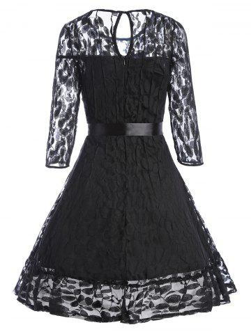 Hot Lace Skater Homecoming Dress with Sleeves - XL BLACK Mobile