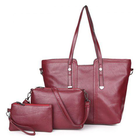 Outfit 3 Pieces Faux Leather Shoulder Bag Set - RED  Mobile