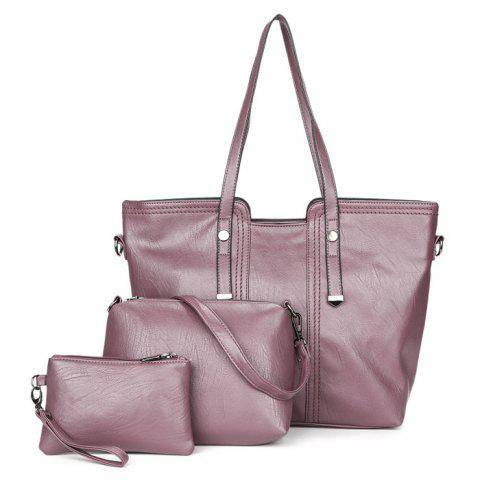 Chic 3 Pieces Faux Leather Shoulder Bag Set PURPLE