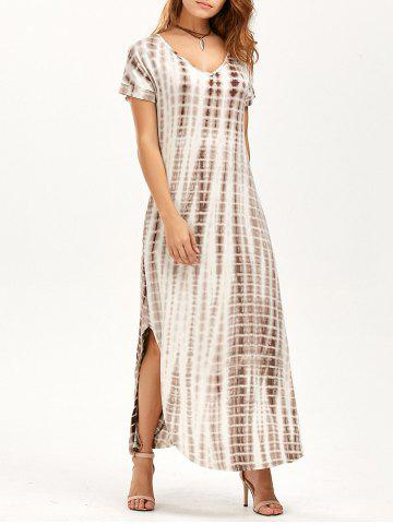 Sale Side Slit Tie Dye Maxi Flowy Dress