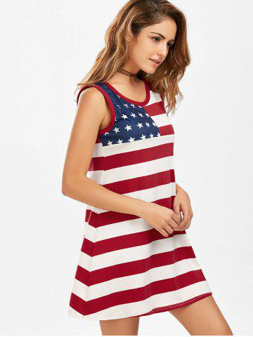 Latest Casual American Flag Patriotic Tunic Mini Dress - S COLORMIX Mobile