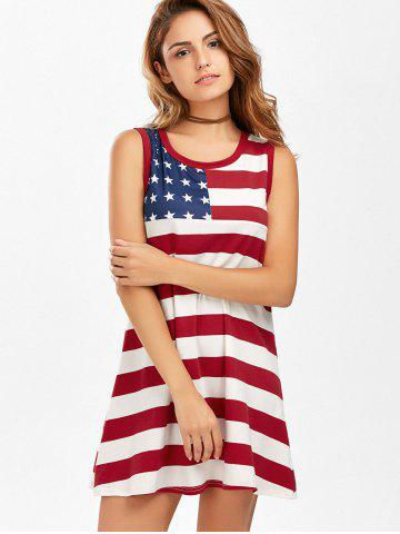 Online Casual American Flag Patriotic Tunic Mini Dress - S COLORMIX Mobile