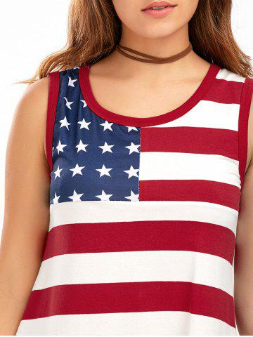 New Casual American Flag Patriotic Tunic Mini Dress - S COLORMIX Mobile