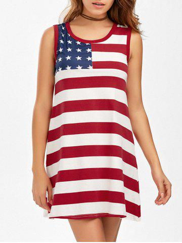 Latest Casual American Flag Patriotic Tunic Mini Dress