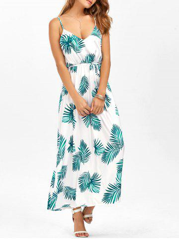 Hot Leaf Print Cut Out Belted Cami Dress WHITE XL