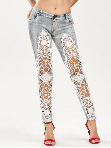 Outfits Openwork Low Waist Lace Panel Jeans