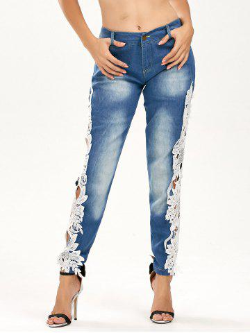 Store Lace Panel Hollow Out Jeans - S BLUE AND WHITE Mobile