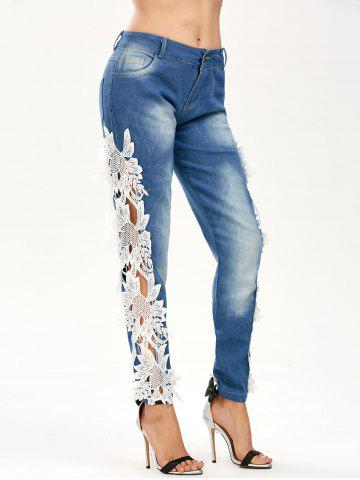 Shops Lace Panel Hollow Out Jeans - S BLUE AND WHITE Mobile