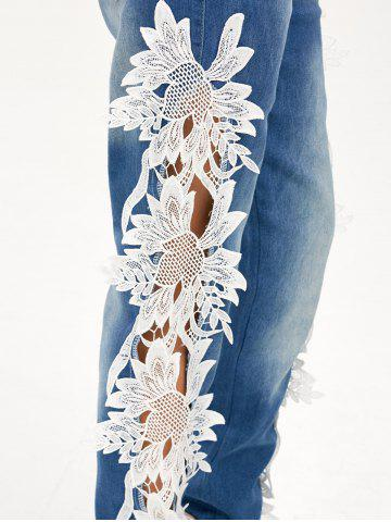 Affordable Lace Panel Hollow Out Jeans - S BLUE AND WHITE Mobile