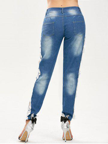 Sale Lace Panel Hollow Out Jeans - S BLUE AND WHITE Mobile