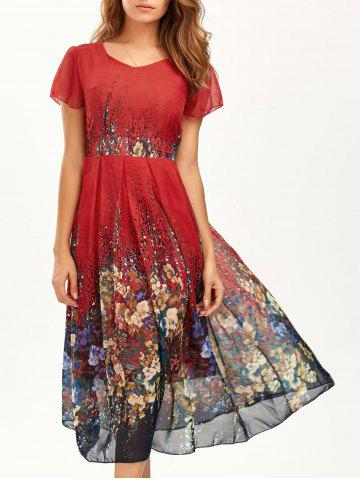 Casual Bohemian Floral Flowy Midi Dress - Red - M