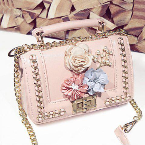 Trendy Chain Bead Flowers Crossbody Bag PINK