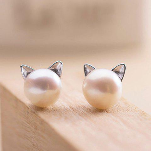 Unique Artificial Pearl Kitten Stud Tiny Earrings SILVER