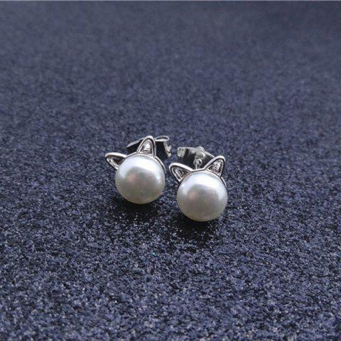Outfit Artificial Pearl Kitten Stud Tiny Earrings - SILVER  Mobile