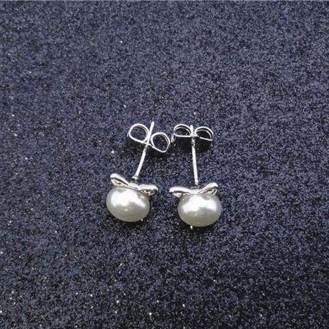 New Artificial Pearl Kitten Stud Tiny Earrings - SILVER  Mobile