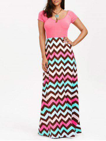Fancy Scoop Neck Chevron Maxi Party Dress LIGHT PINK 2XL